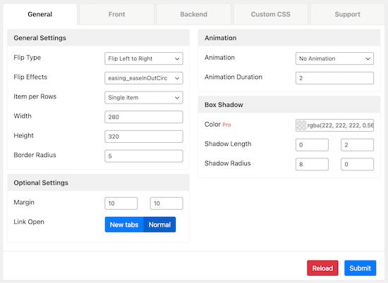 Flipbox general settings menu