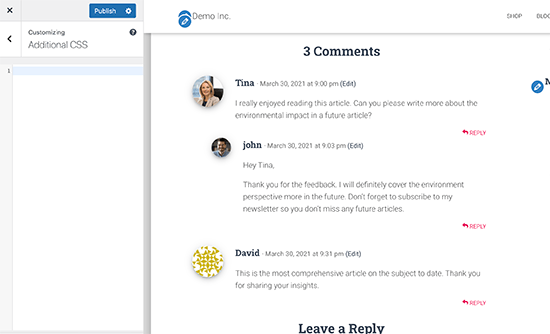 Viewing comments in Theme Customizer