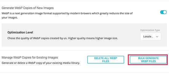 Bulk generate WebP images