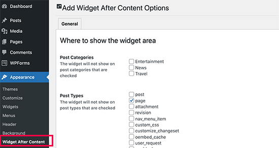 Widget after content settings