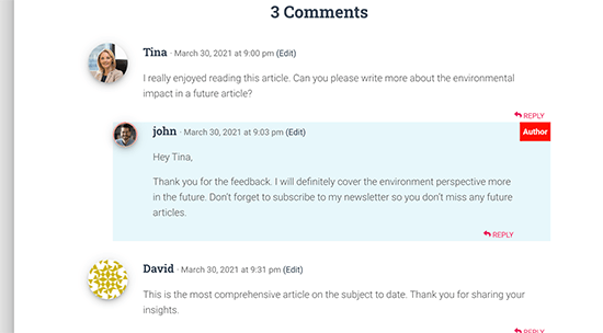 Comment author highlighted with the Author label