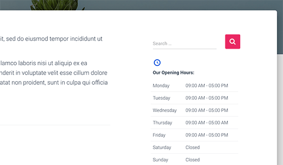Business hours displayed in sidebar