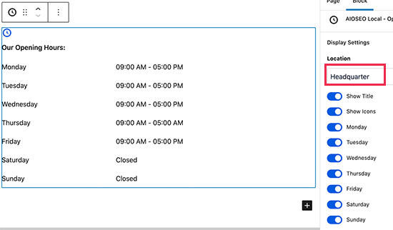 Adding business hours to a post or page in WordPress