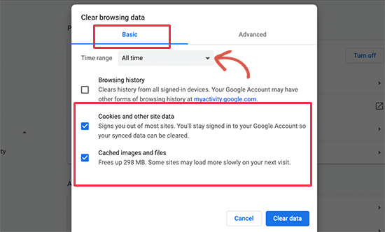 Clear cookies and cache in Google chrome