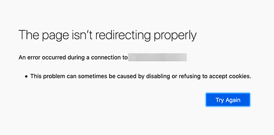 Too many redirects error in Firefox