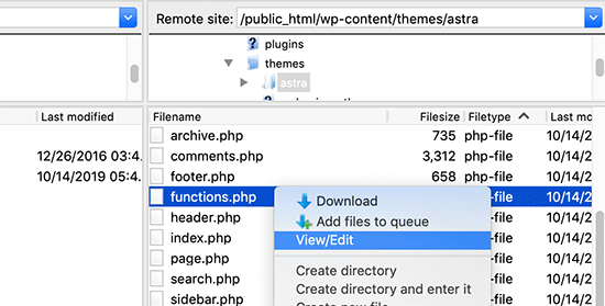 Edit functions.php file