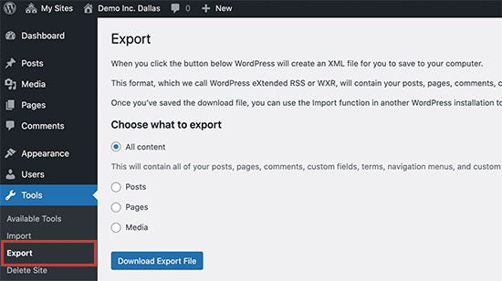 Exporting a single site from a WordPress multisite network