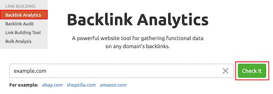 SEMRush backlink analytics