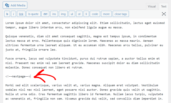 Insert next page tag in the classic editor