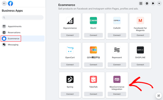 Select business apps WooCommerce integration