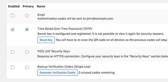 Secret keys configured