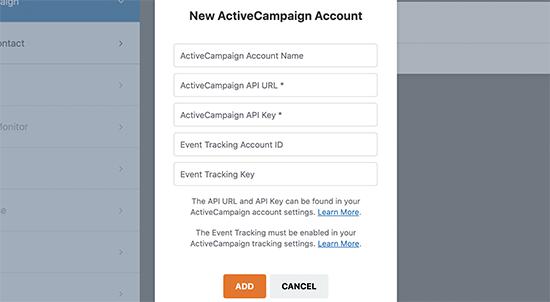 ActiveCampaign settings WPForms