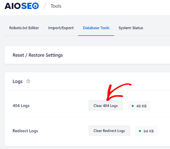 Clear 404 logs from database tools