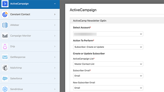 Map form fields to your email list